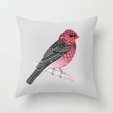 Scarlet Rosefinch Throw Pillow