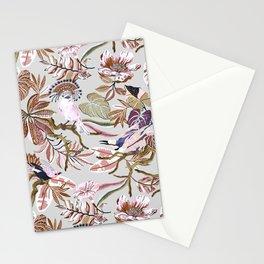 Pink tropical birds landscape I Stationery Cards