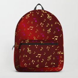 gold and silver, purple music notes in red metal shiny Backpack