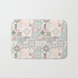 Moroccan Tile Pattern with Rose Gold Bath Mat