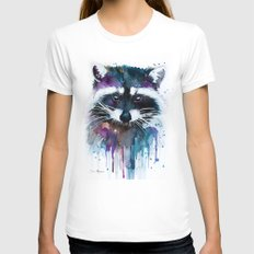 Raccoon LARGE Womens Fitted Tee White