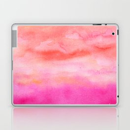 Bright pink orange sunset watercolor hand painted Laptop & iPad Skin