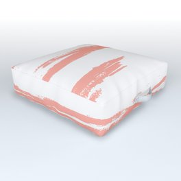 Pretty Pink Brush Stripes Horizontal Outdoor Floor Cushion