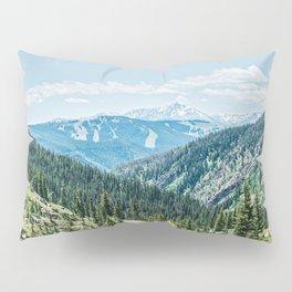 Mountain Landscape // Ski Resort Runs in Summer Epic Green Forest Wilderness Photograph Pillow Sham