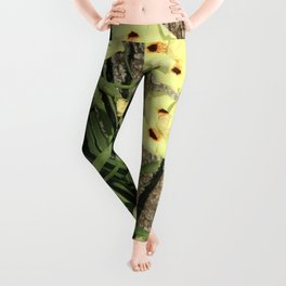 Pretty Yellow Flowers Nestled in Blades of Grass Leggings