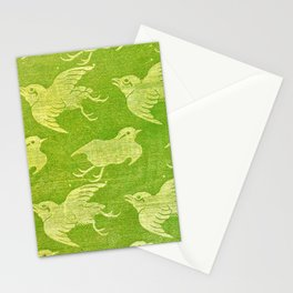 Asian oriental cranes birds green washi paper Stationery Cards