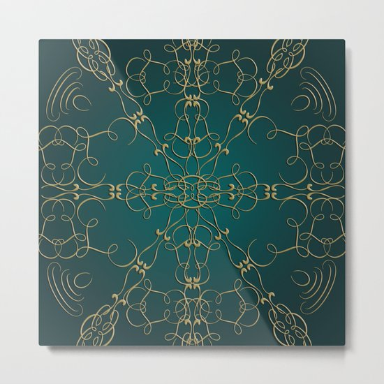 Gold Teal Mandala Metal Print