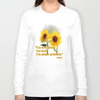 sunflowers Long Sleeve T-shirts featuring Sunflowers by LudaNayvelt