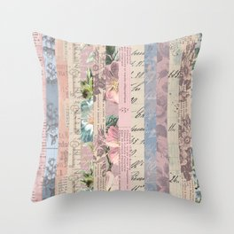 Vintage Shabby Florals Throw Pillow