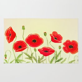 Watercolor poppies Rug