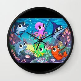 Funny marine animals in the sea Wall Clock