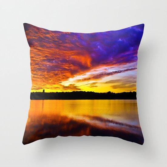 Burning Sky, Boston MA Throw Pillow
