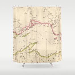 Vintage Map of Lake Superior (1832) Shower Curtain
