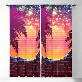 Festival vaporwave landscape with rocks and palms Blackout Curtain