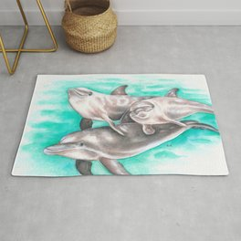 Dolphins Teal Watercolor Rug