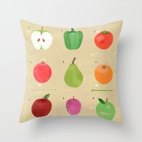 fruit Throw Pillows featuring Fruit by Jessie Ford
