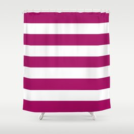 Jazzberry jam -  solid color - white stripes pattern Shower Curtain