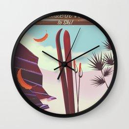 Falls Creek, Northeastern Australia Ski poster, Wall Clock