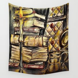Candles, books and mead Wall Tapestry