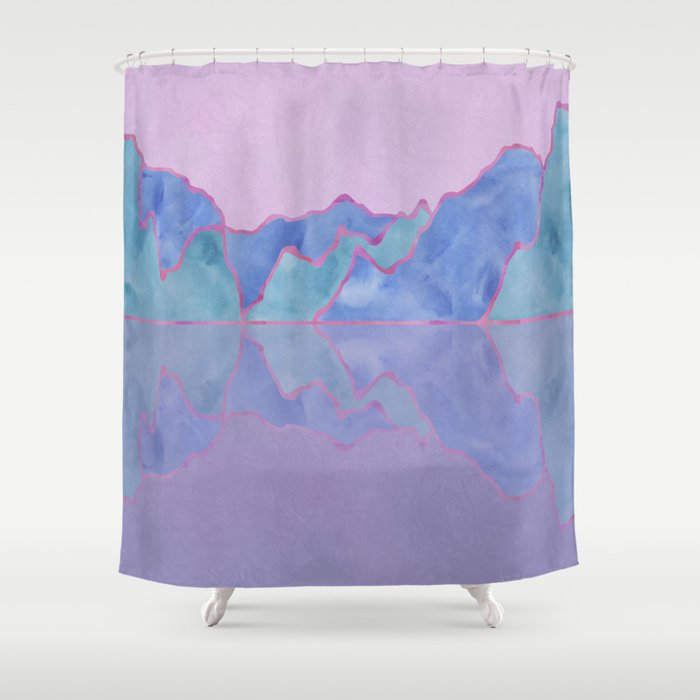 Mountain Reflection in Water - Pastel Palette Shower Curtain