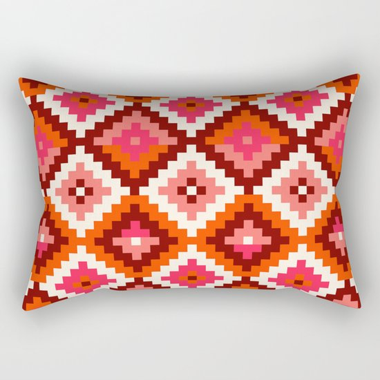 Aztec pattern-rose, orange, brown Rectangular Pillow
