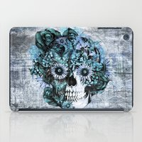 ohm iPad Cases featuring Blue grunge ohm skull by Kristy Patterson Design