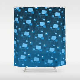 Space age retro modern blue square decorator pattern Shower Curtain