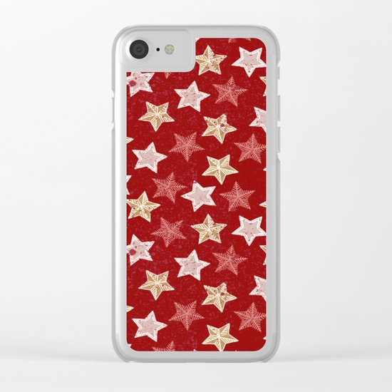 Festive Stars Clear iPhone Case