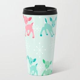 Pink, Turquoise, and Jadeite Deer Travel Mug