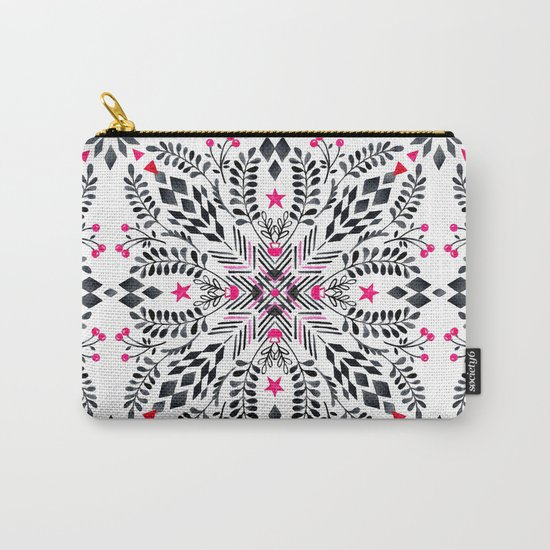 Winter Graphic Folk Art Pattern Carry-All Pouch