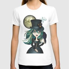 Raven's Moon White Womens Fitted Tee MEDIUM