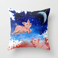 pigs Throw Pillows featuring 3 Pigs by Priscilla George