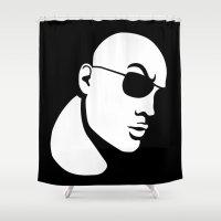 allyson johnson Shower Curtains featuring The Rock Dwayne Johnson  by jasonarts