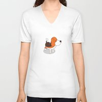 beagle V-neck T-shirts featuring Beagle by Paul Turcanu