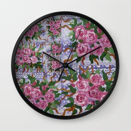 purple and roses Wall Clock