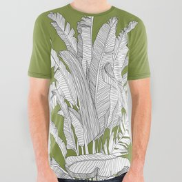 Banana Leaves Illustration - Green All Over Graphic Tee