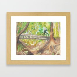 Biker in the Woods Framed Art Print