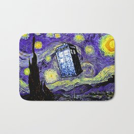 The Tardis in the Starry Night Bath Mat