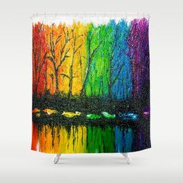 Rainbow Abstract Painting. Woods. Red Yellow Orange Green Blue Purple Shower Curtain