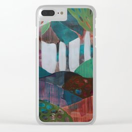 Day 1 In The Woods, Contemporary Abstract Landscape Clear iPhone Case