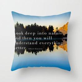 Einstein Quote On Nature Throw Pillow