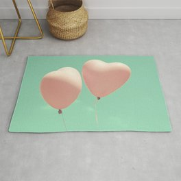 Close Love, Pink heart balloons on soft blue sky Rug
