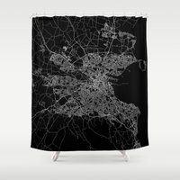 dublin Shower Curtains featuring Dublin map by Line Line Lines