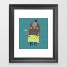 Bear and Bird Buddies Framed Art Print
