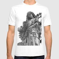 Blessed Virgin Mary Black & White MEDIUM White Mens Fitted Tee