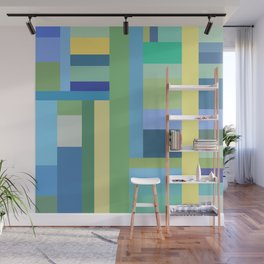 Abstract Blue Mint Green Geometry Wall Mural
