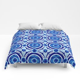 Blue and white monograms. Porcelain. Comforters