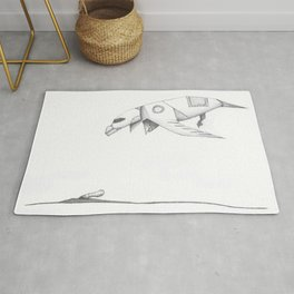 Robo Bird Catches the Worm Rug