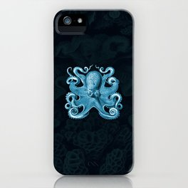 Octopus1 (Blue, Square) iPhone Case