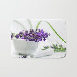 Lavender still life for pharmacies or curative practitioners Bath Mat
